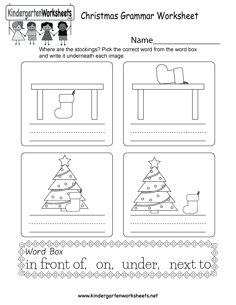 Kindergarten Christmas Grammar Worksheet Printable