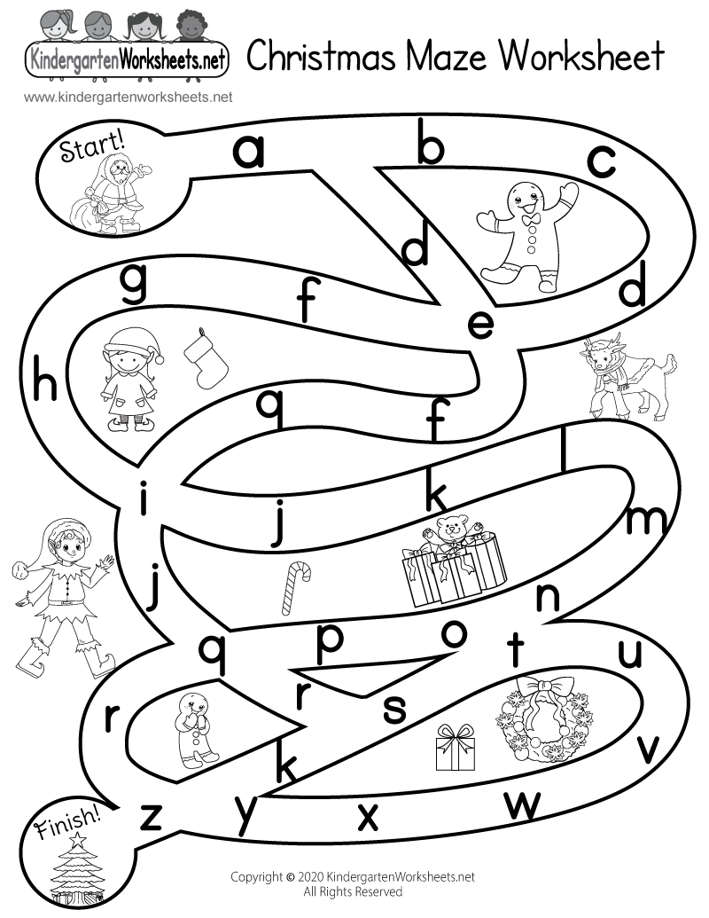 Kindergarten Christmas Maze Worksheet Printable