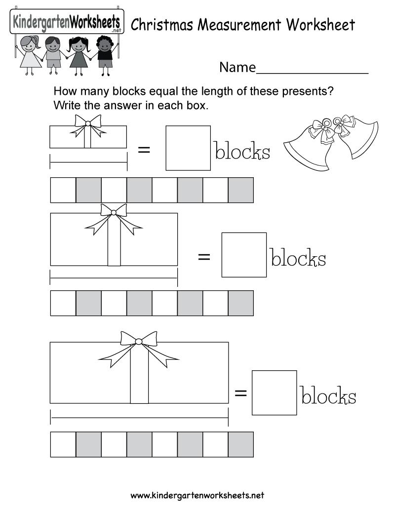 Christmas Measurement Worksheet - Free Kindergarten Holiday ...