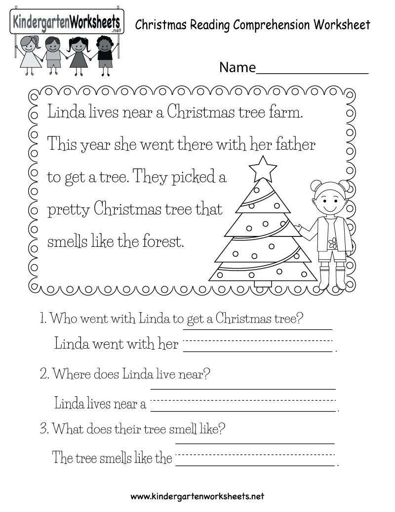 Free Printable Christmas Reading Worksheet for KindergartenKindergarten Christmas Reading Worksheet Printable.