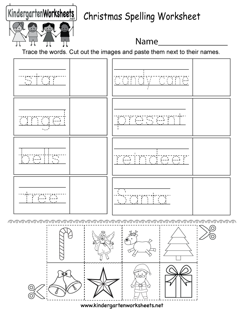 Free Printable Christmas Spelling Worksheet for Kindergarten