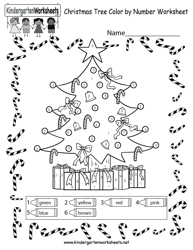 ... Tree Coloring Worksheet - Free Kindergarten Holiday Worksheet for Kids