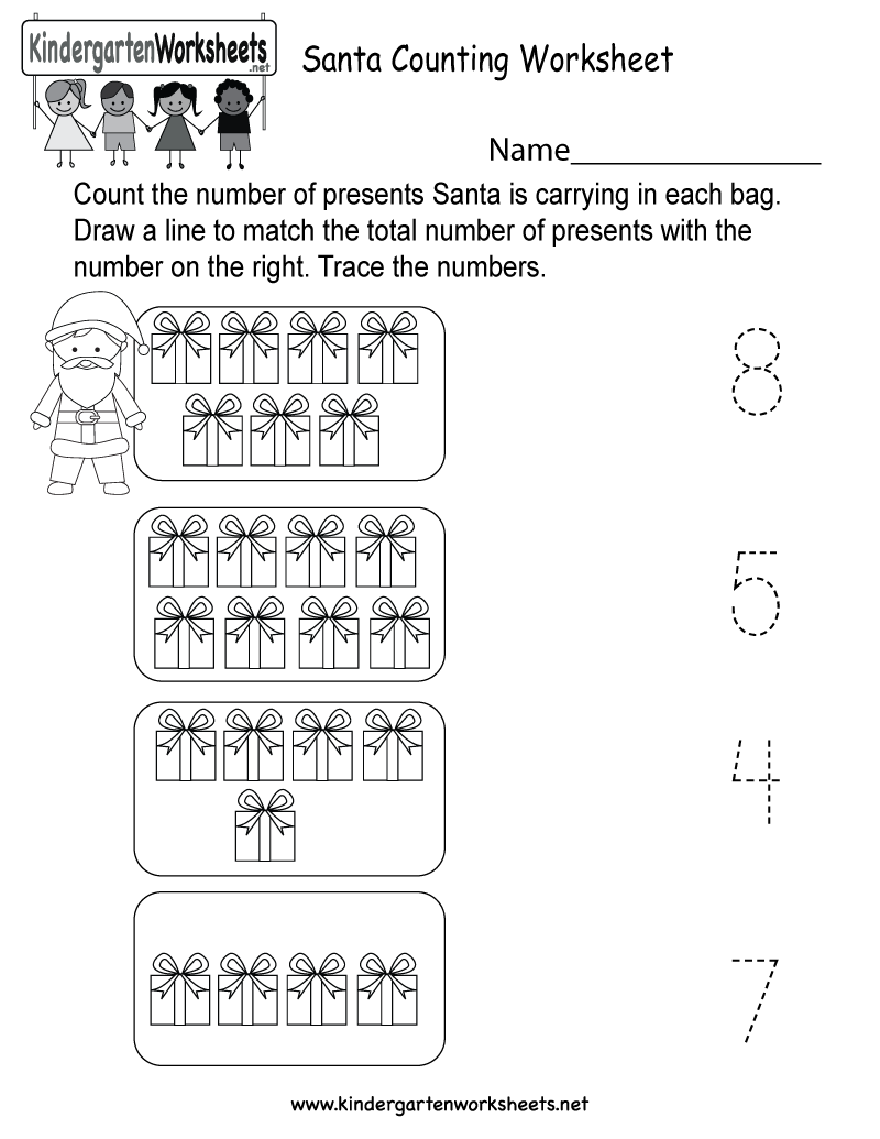 Santa Counting Worksheet Free Kindergarten Holiday Worksheet for – Christmas Kindergarten Worksheets