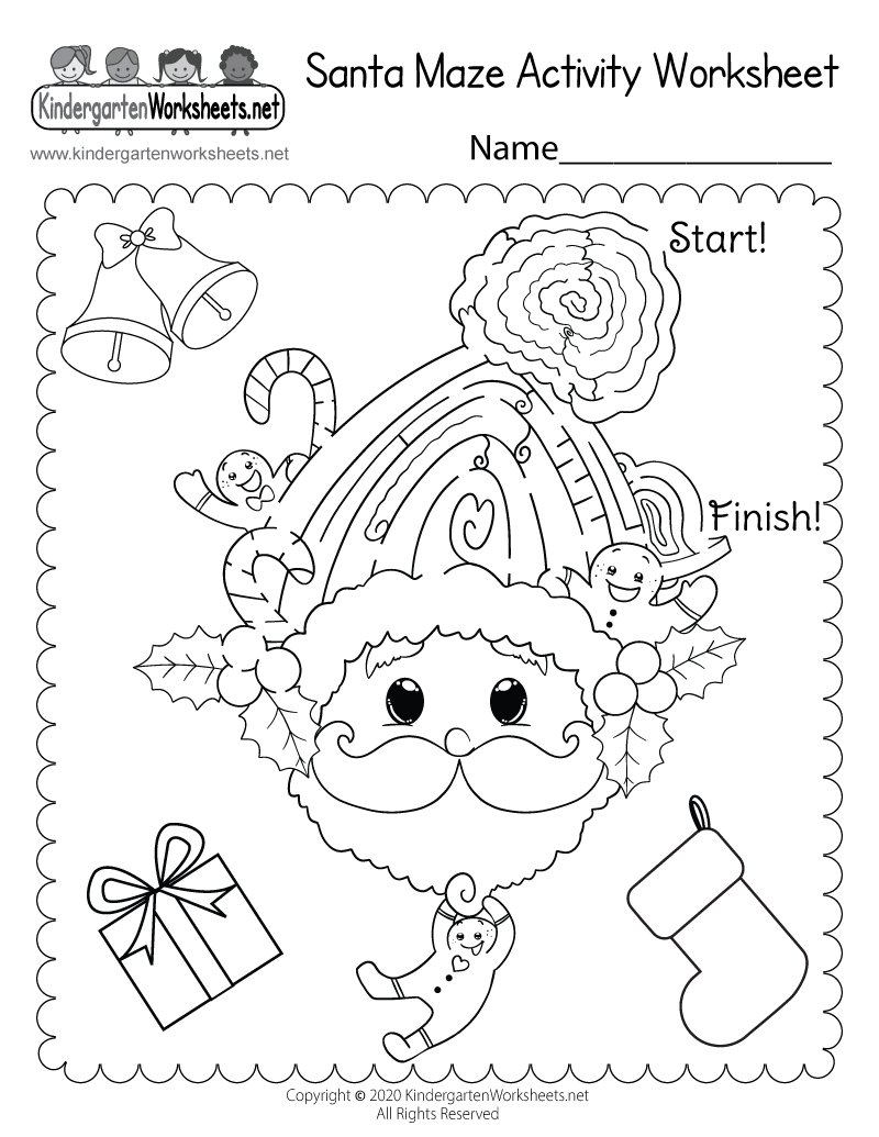 Santa Maze Activity Worksheet Free Kindergarten Holiday – Holiday Worksheets Free