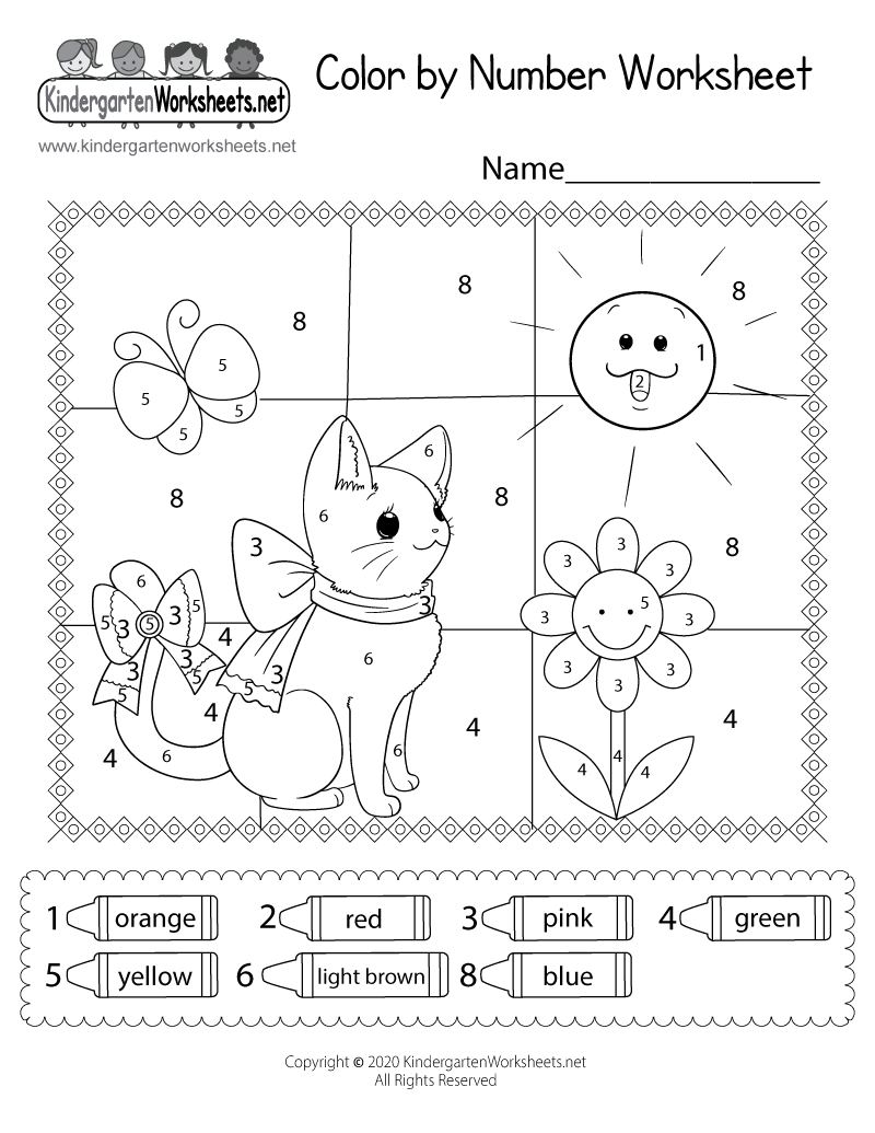 Free Kindergarten Coloring Worksheets - Learning with a fun activity.