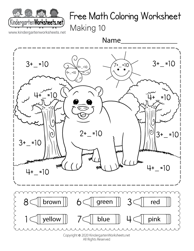 Free Math Coloring Worksheet for Kindergarten - Making 10