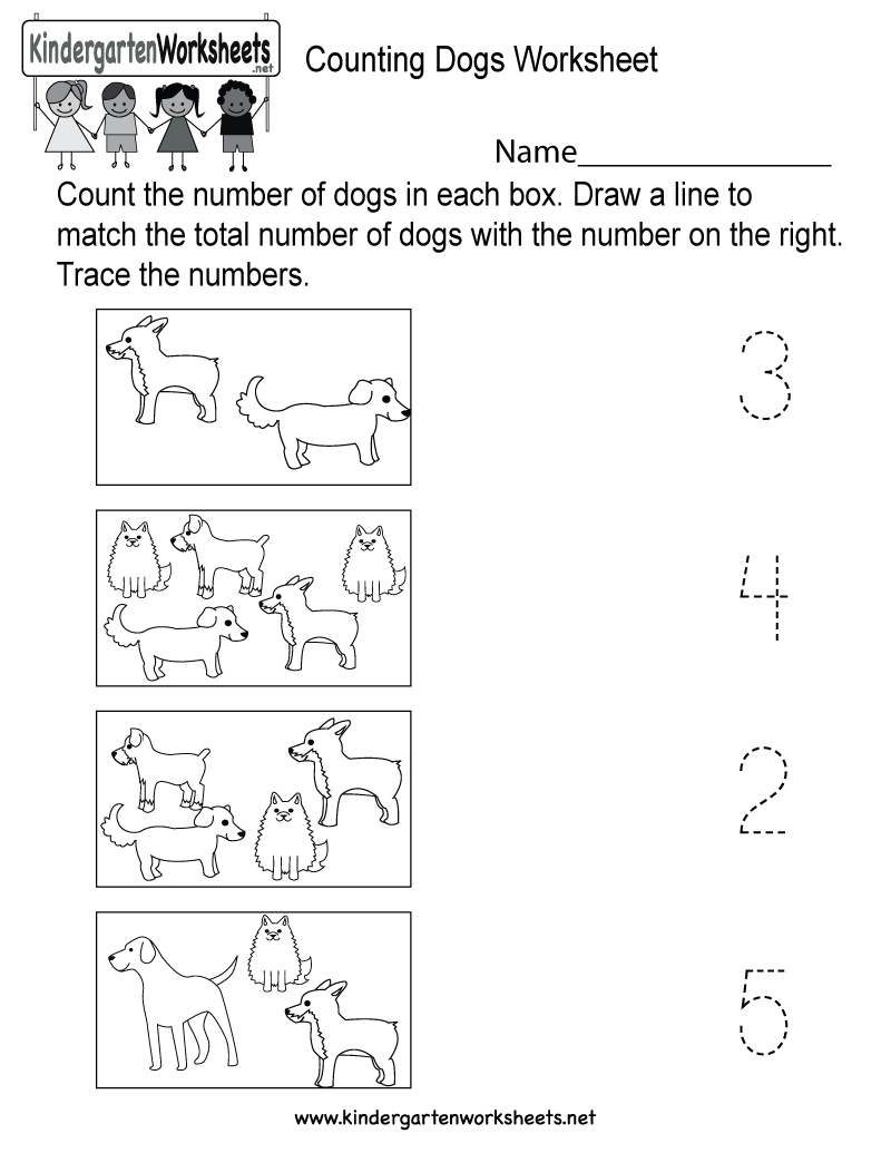 counting dogs worksheet free kindergarten math worksheet for kids. Black Bedroom Furniture Sets. Home Design Ideas