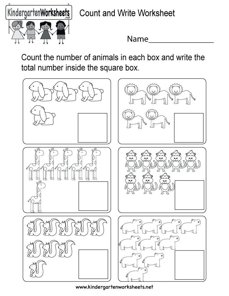 Count and Write Worksheet - Free Kindergarten Math Worksheet for Kids