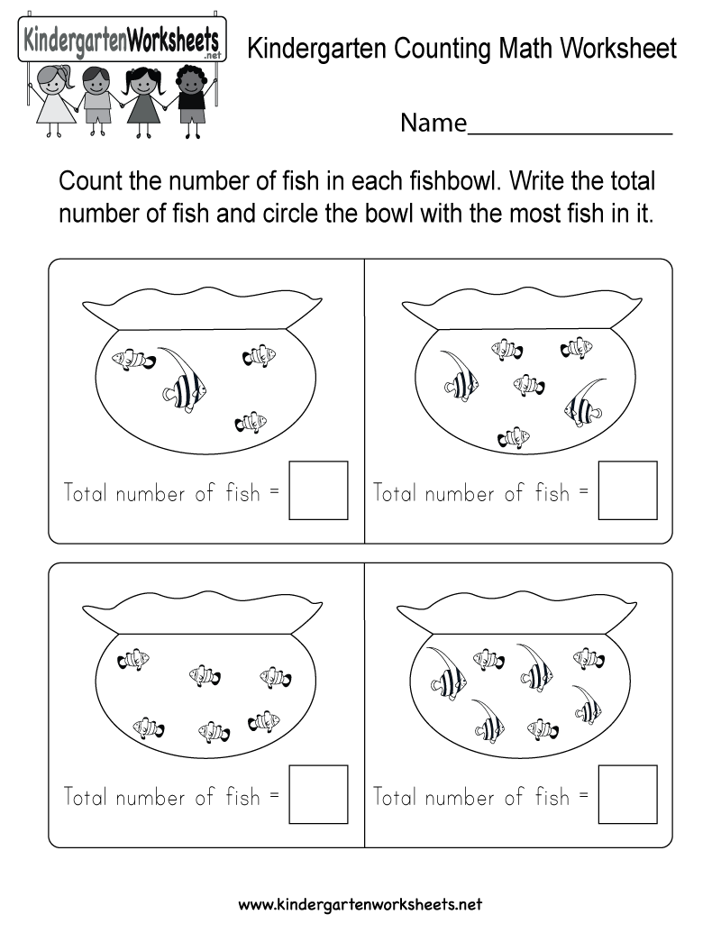 math worksheet : kindergarten counting math worksheet  free kindergarten math  : Kindergarten Free Math Worksheets