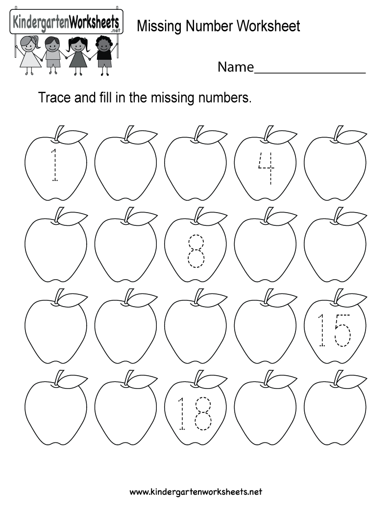 Free Printable Missing Number Counting Worksheet for Kindergarten – Missing Number Worksheets