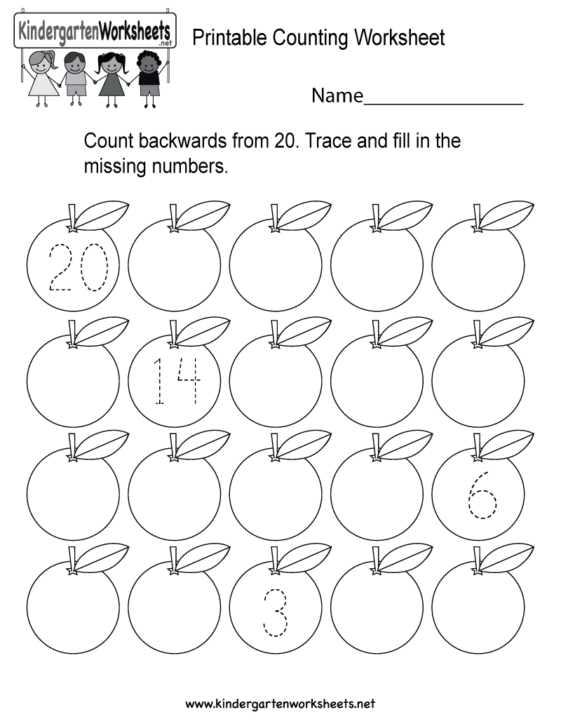 Free Printable Counting Backwards Worksheet for Kindergarten