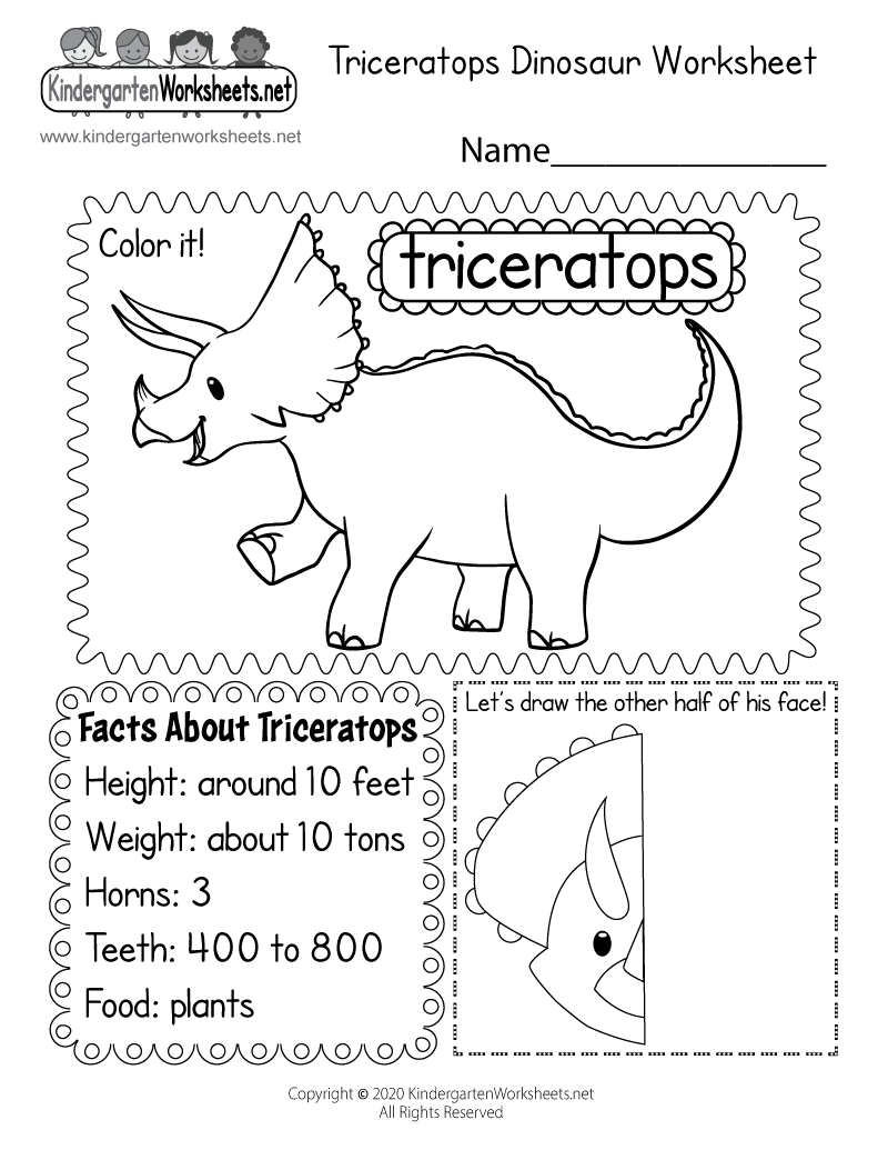 Dinosaur Worksheet - Free Kindergarten Learning Worksheet ...