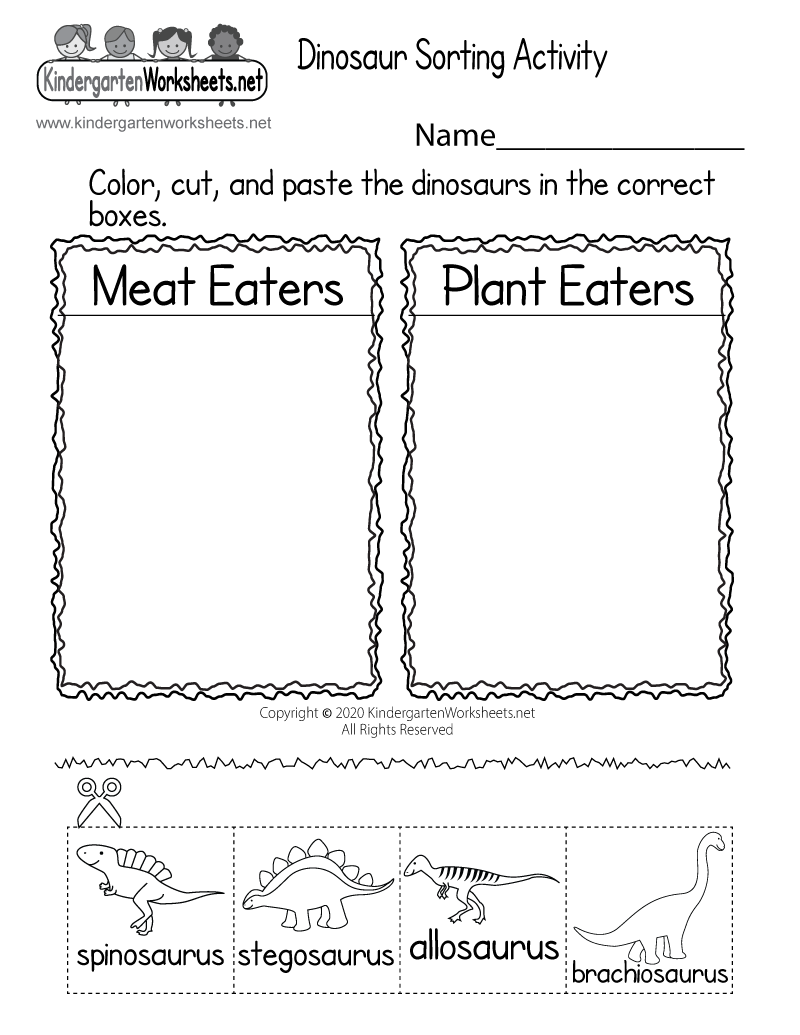 Print a Free Dinosaur Worksheet for Kindergarten