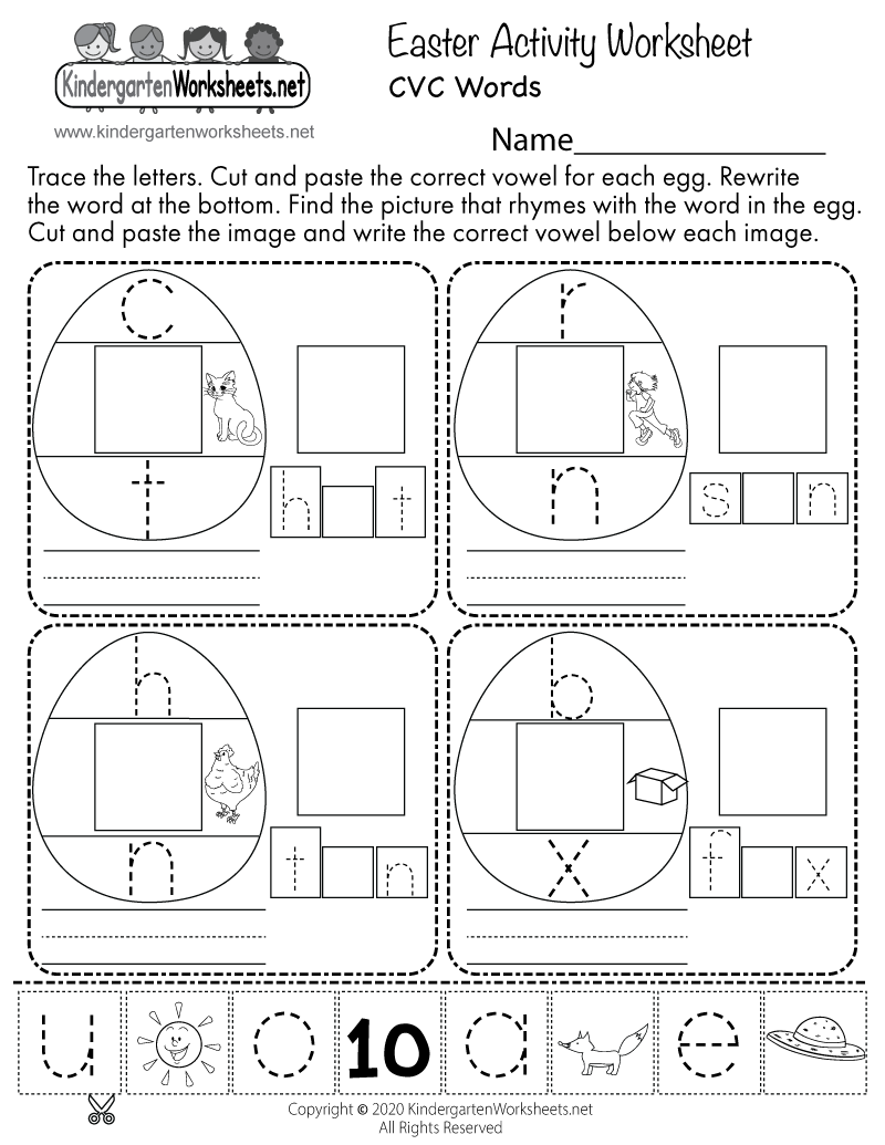 Kindergarten Easter Activities Worksheet Printable
