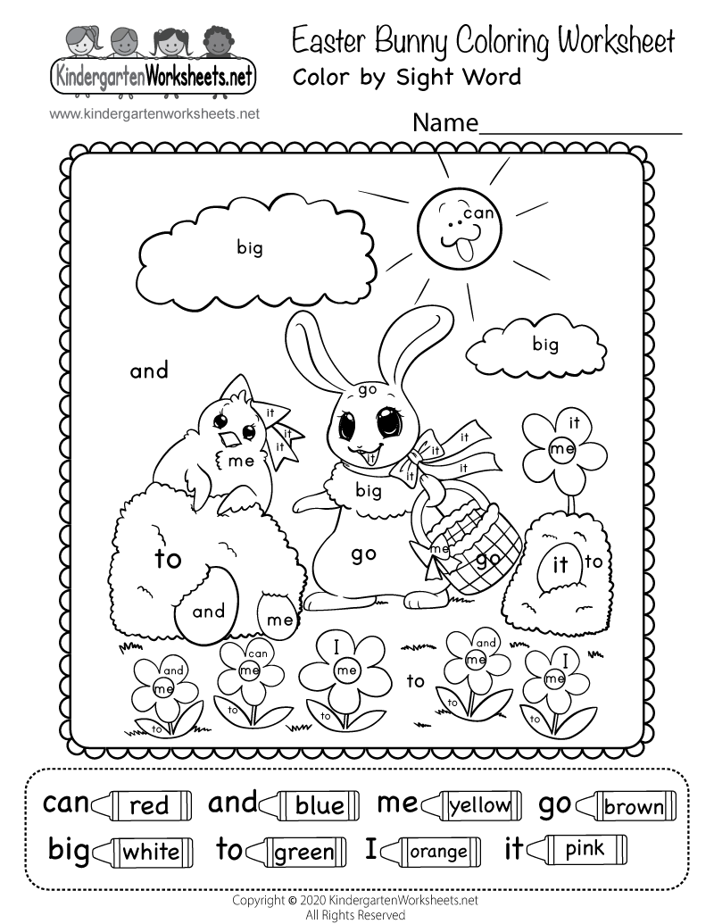 Kindergarten Easter Bunny Coloring Worksheet Printable
