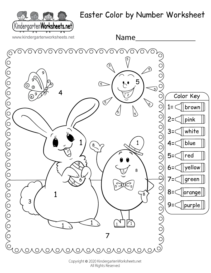 Free Printable Easter Color by Number Worksheet for Kindergarten