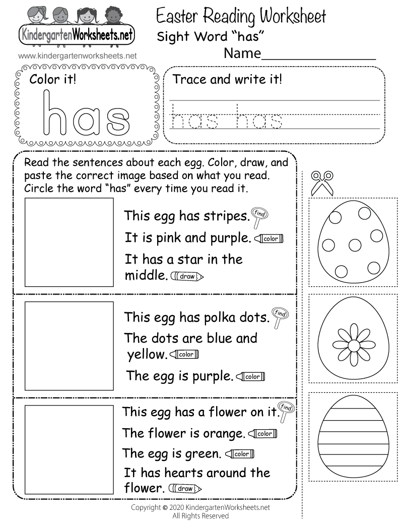 Easter Reading Worksheet - Free Kindergarten Holiday ...