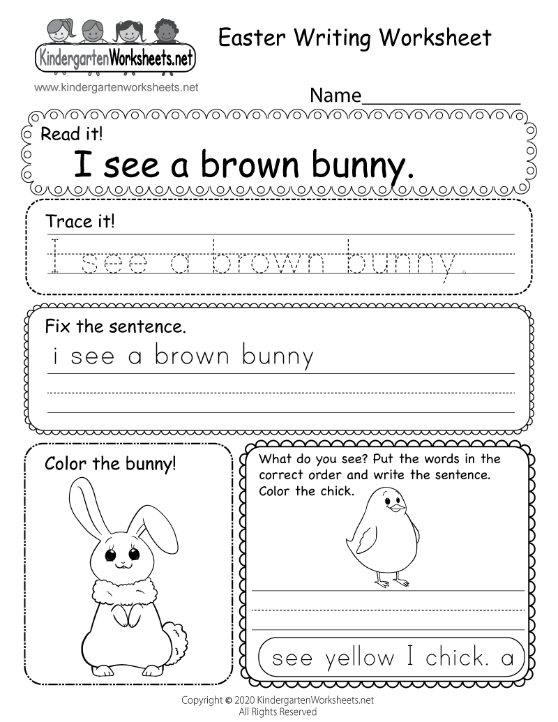 Easter Writing Worksheet - Free Kindergarten Holiday Worksheet for Kids