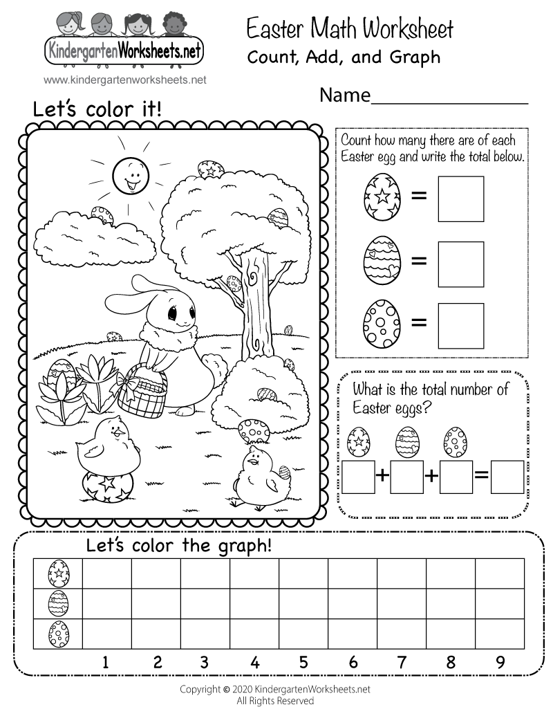 Easter Math Worksheet - Free Kindergarten Holiday Worksheet for Kids