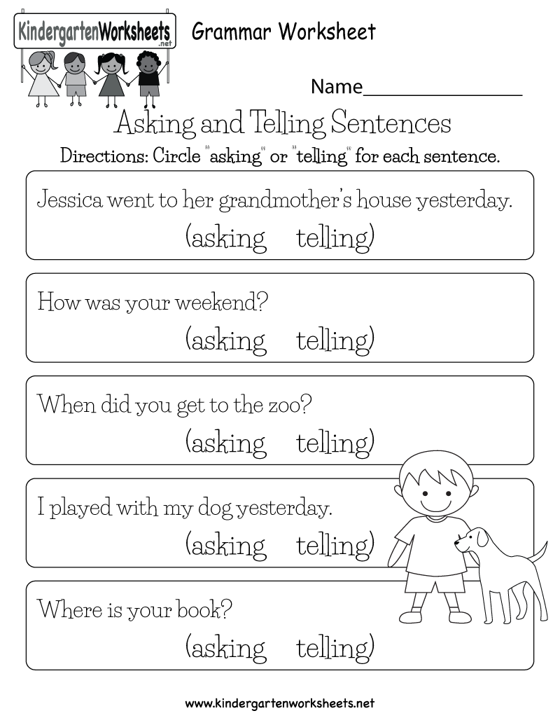 English Comprehension Worksheet Free Kindergarten