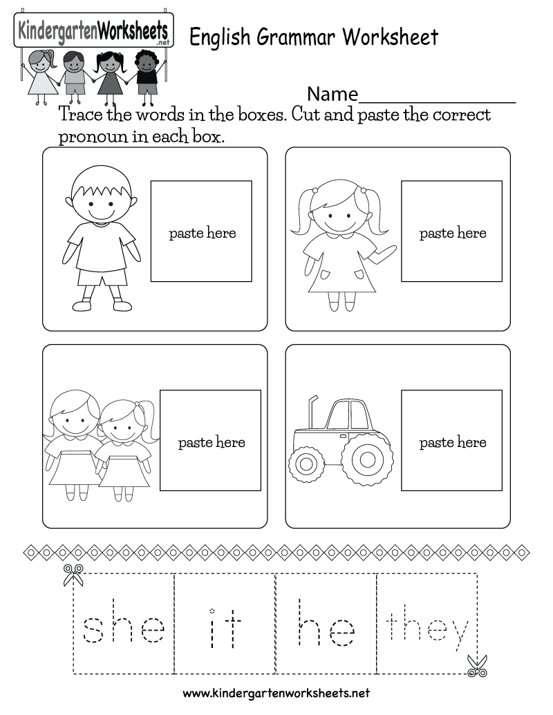Kindergarten English Grammar Worksheet Printable