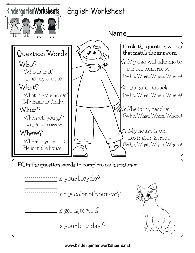 Worksheets Worksheet-english english worksheet free kindergarten for kids printable