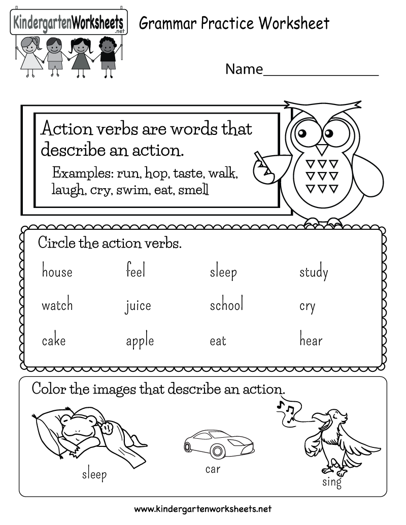 Free English Grammar Worksheets for Kindergarten Learning to – Grammar Worksheets