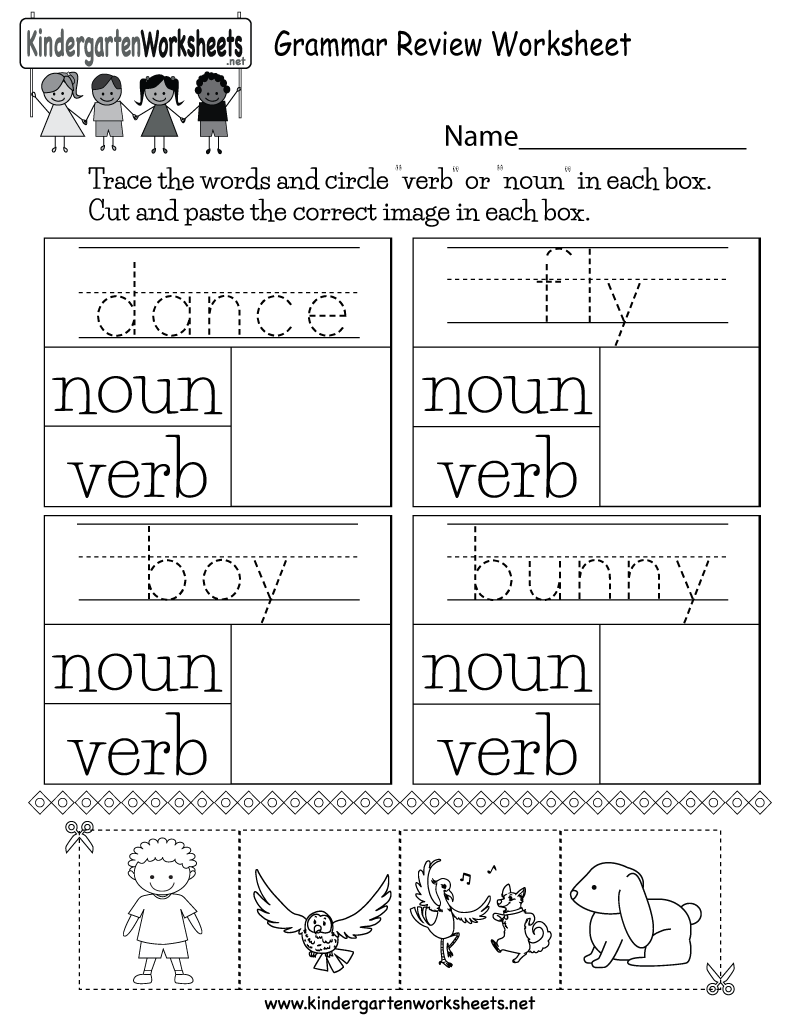 Worksheets Noun Worksheets For Kindergarten grammar review worksheet free kindergarten english for printable