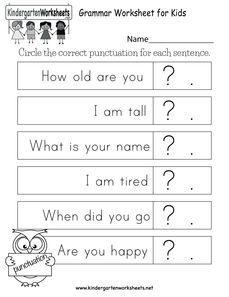 Free Printable Grammar Worksheet for Kids for Kindergarten