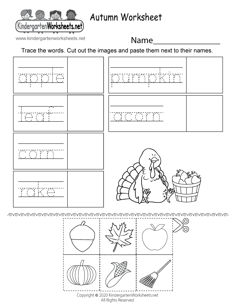 Kindergarten Autumn Activity Worksheet Printable