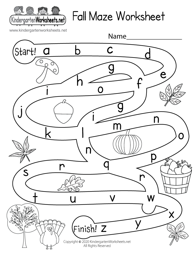 Kindergarten Fall Activity Maze Worksheet Printable