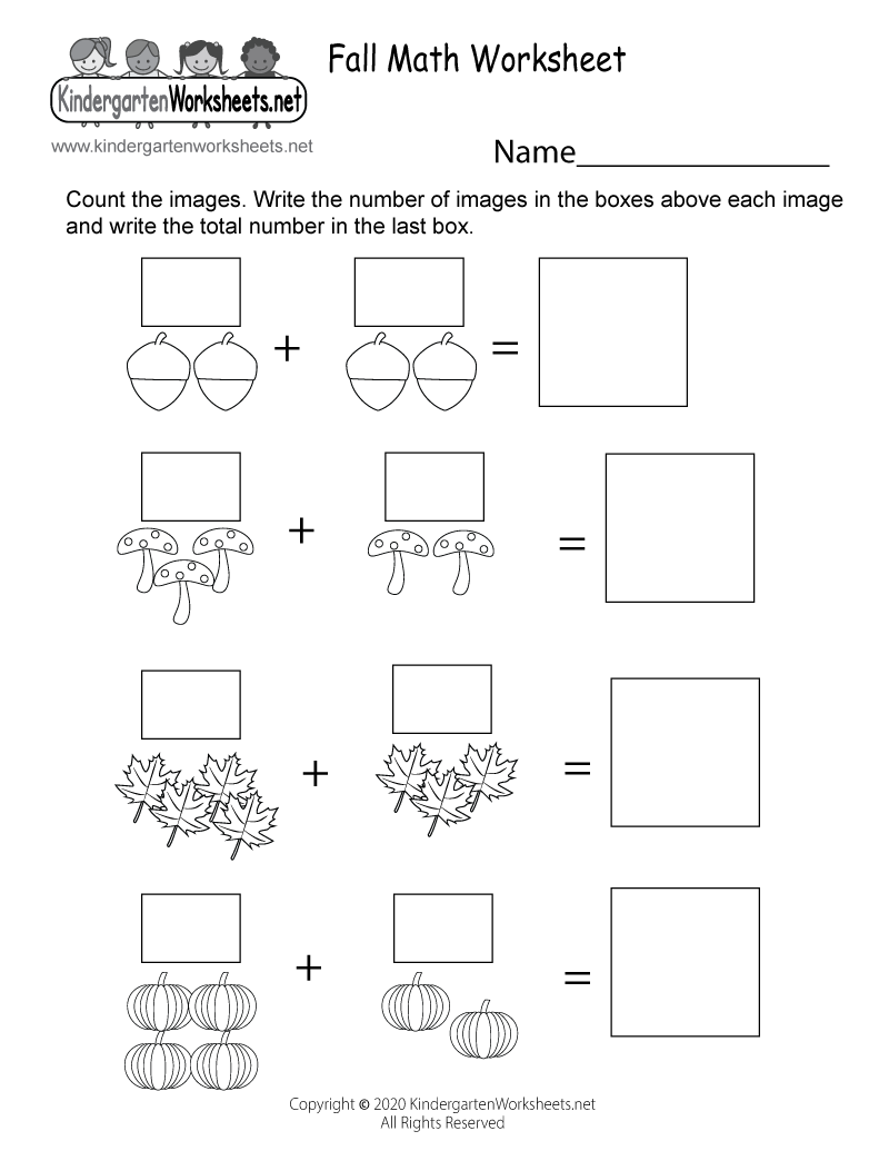 Kindergarten Fall Math Worksheet Printable