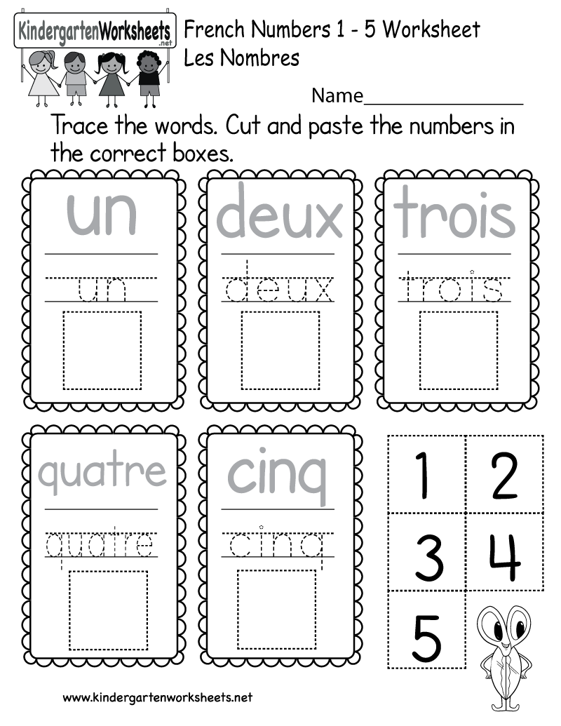 French Numbers Worksheet - Free Kindergarten Learning Worksheet for Kids