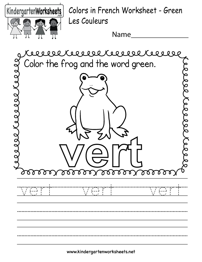 math worksheet : french colors worksheet  free kindergarten learning worksheet for  : Color Worksheets For Kindergarten