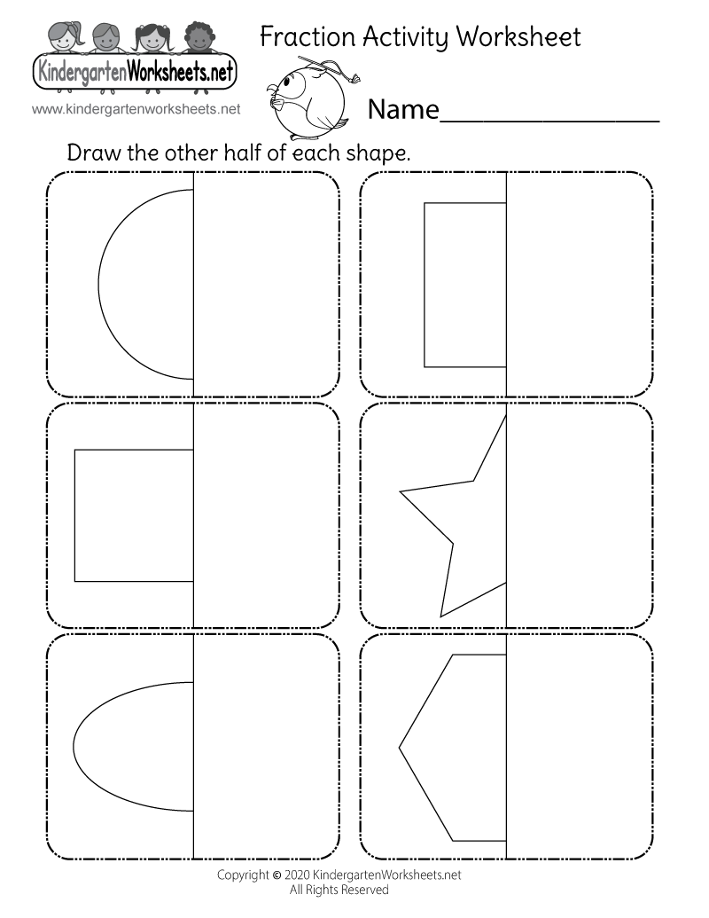 free printable fraction worksheet free kindergarten math worksheet