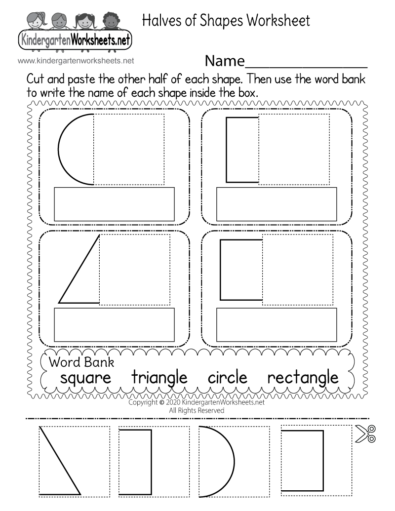 Kindergarten Fun Fraction Worksheet Printable