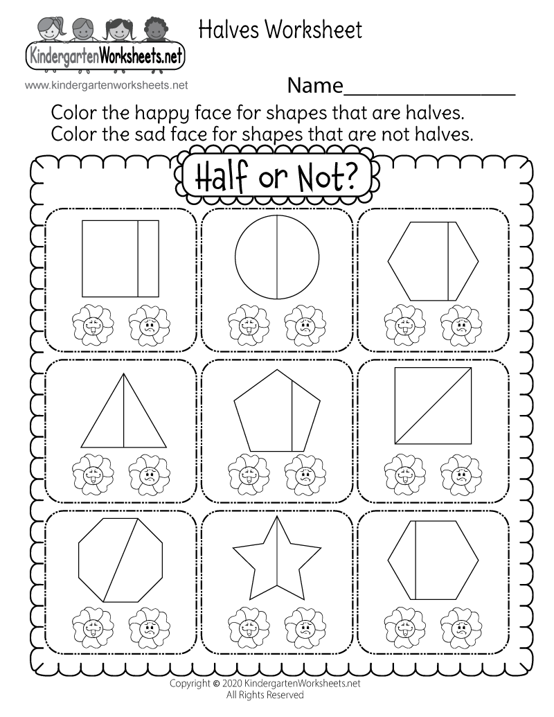 Kindergarten Fraction Worksheet - Free Math Worksheet for Kids