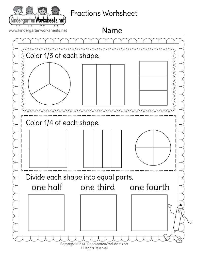 worksheet Math Fraction Worksheet free printable kindergarten math fractions worksheet printable
