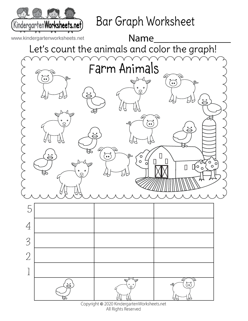bar graph worksheet - free kindergarten math worksheet for kids