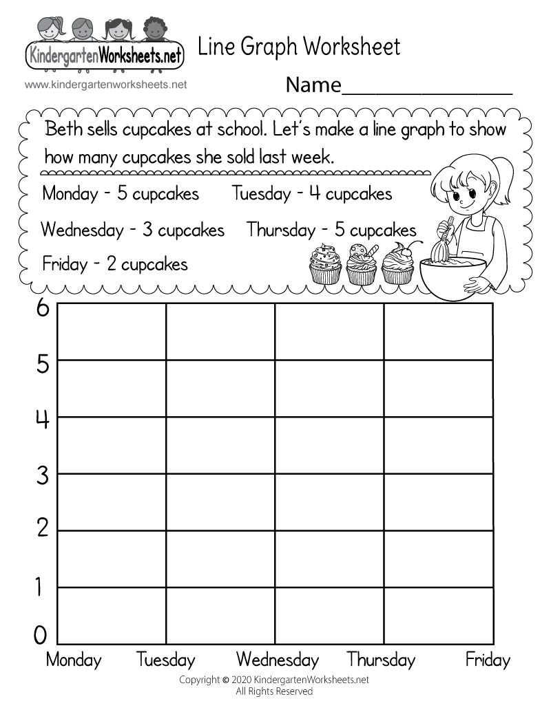 Line Graph Worksheet - Free Kindergarten Math Worksheet for Kids