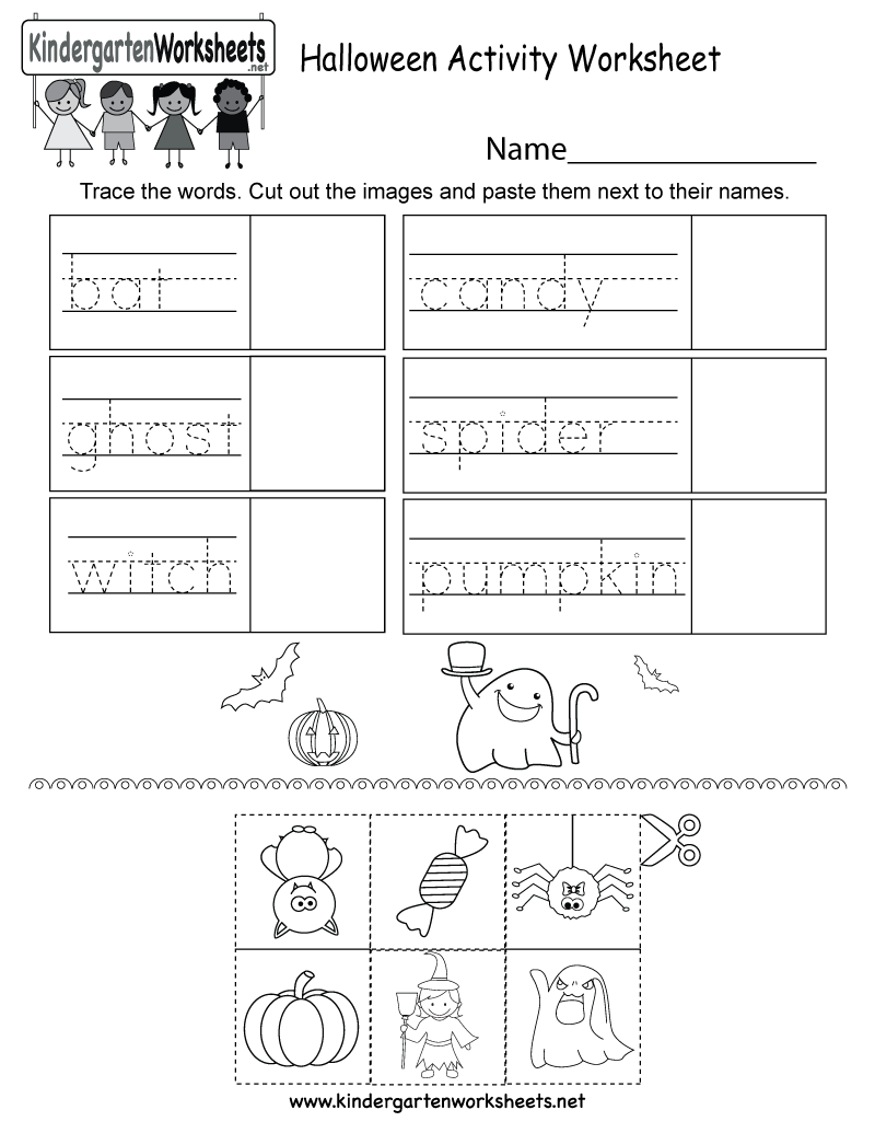 kindergarten halloween activity worksheet printable