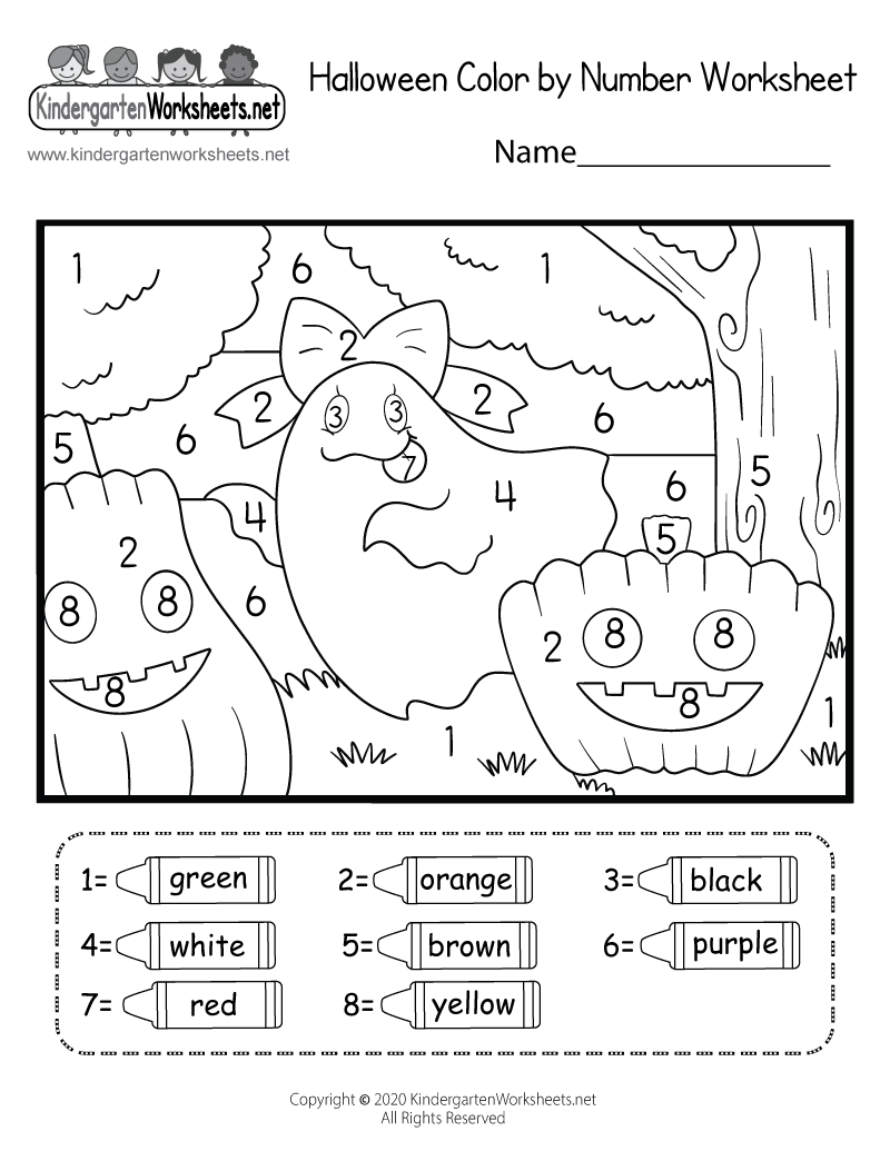 Halloween Coloring Worksheet - Free Kindergarten Holiday Worksheet ...