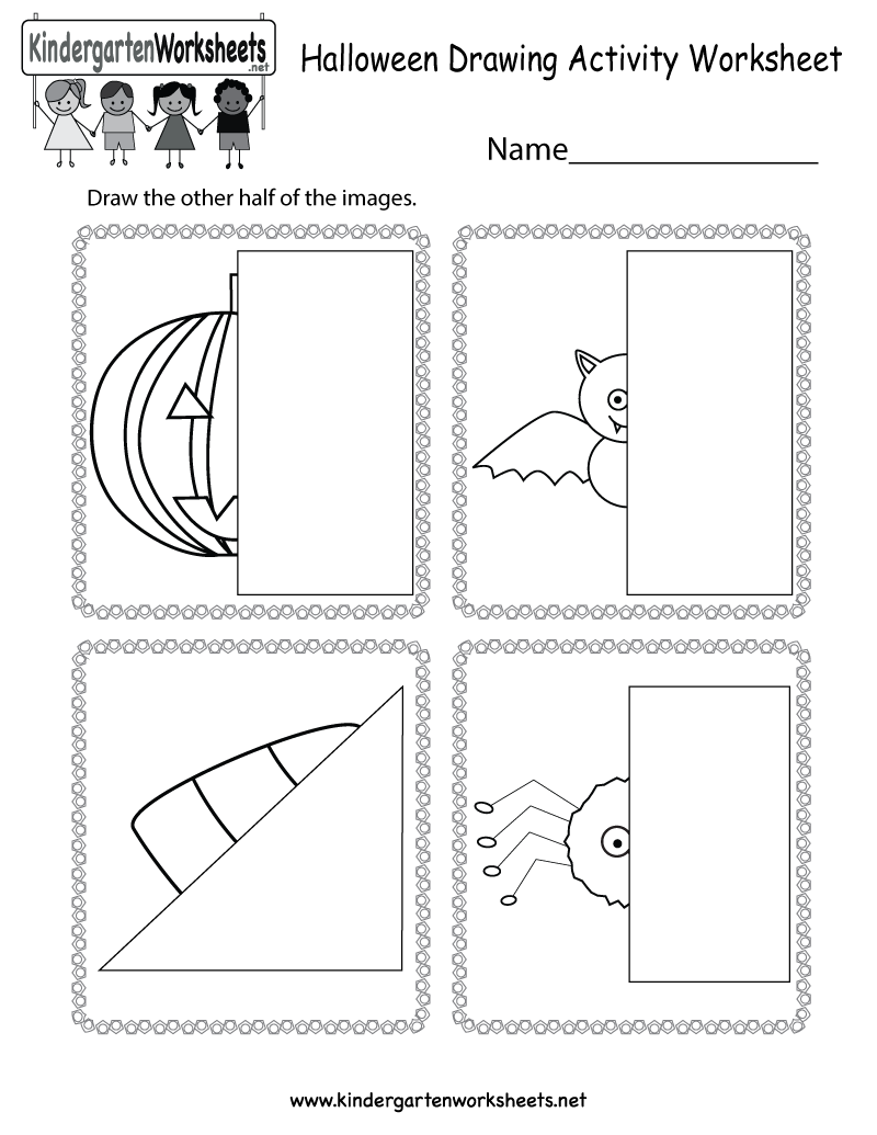 Halloween Drawing Activity Worksheet Free Kindergarten