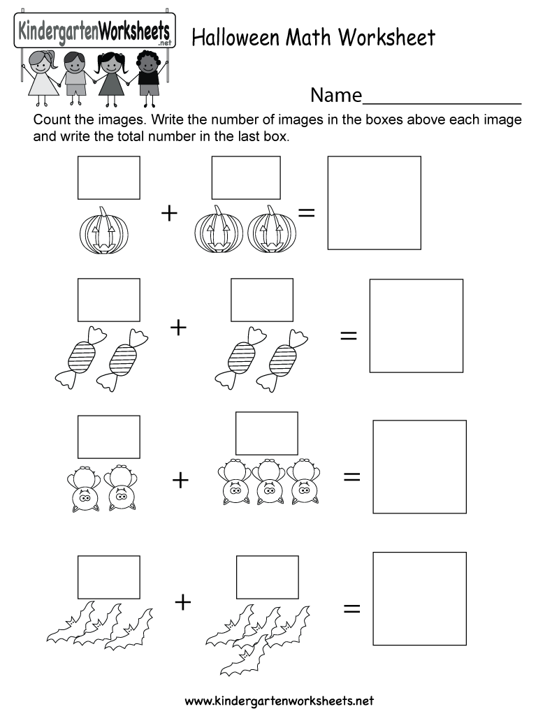 Kindergarten Halloween Math Worksheet Printable