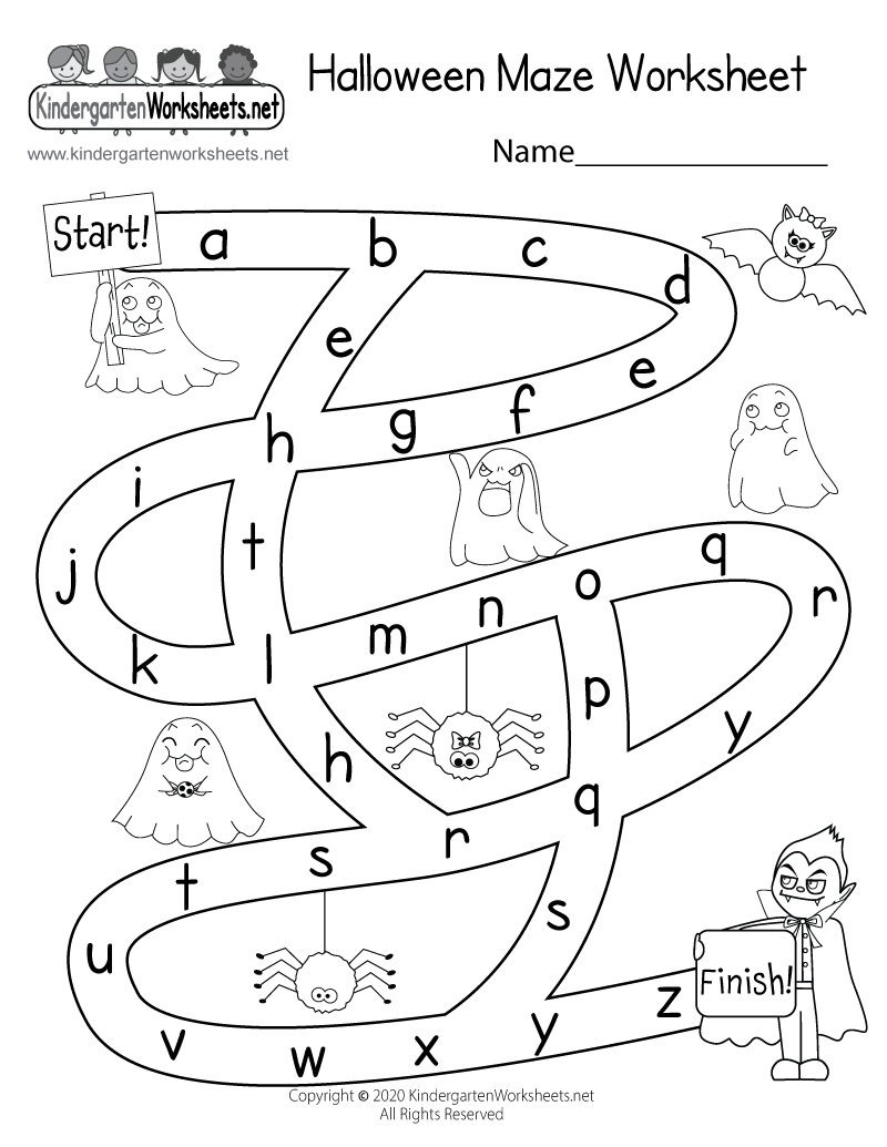 picture regarding Printable Mazes for Kindergartners known as Halloween Maze Worksheet - Free of charge Kindergarten Vacation