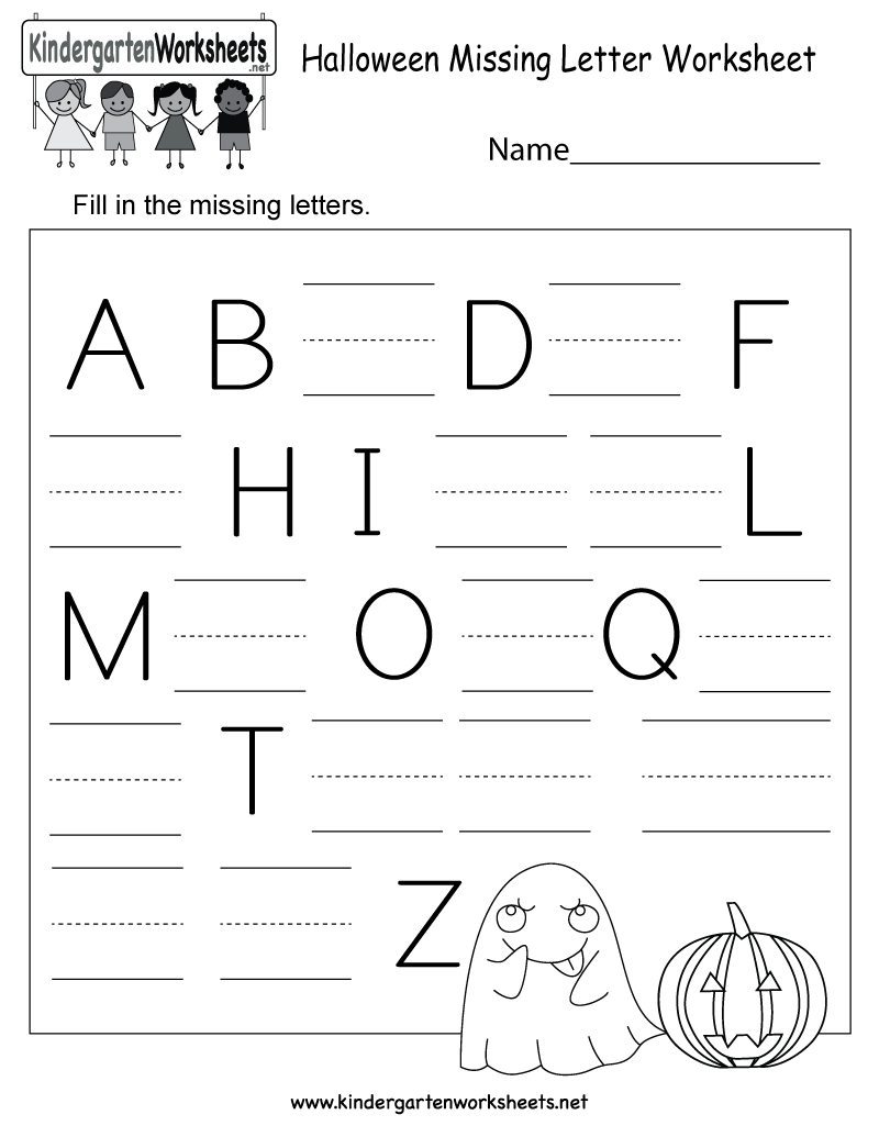 Worksheets Missing Letter Worksheets free printable halloween missing letter worksheet for kindergarten printable