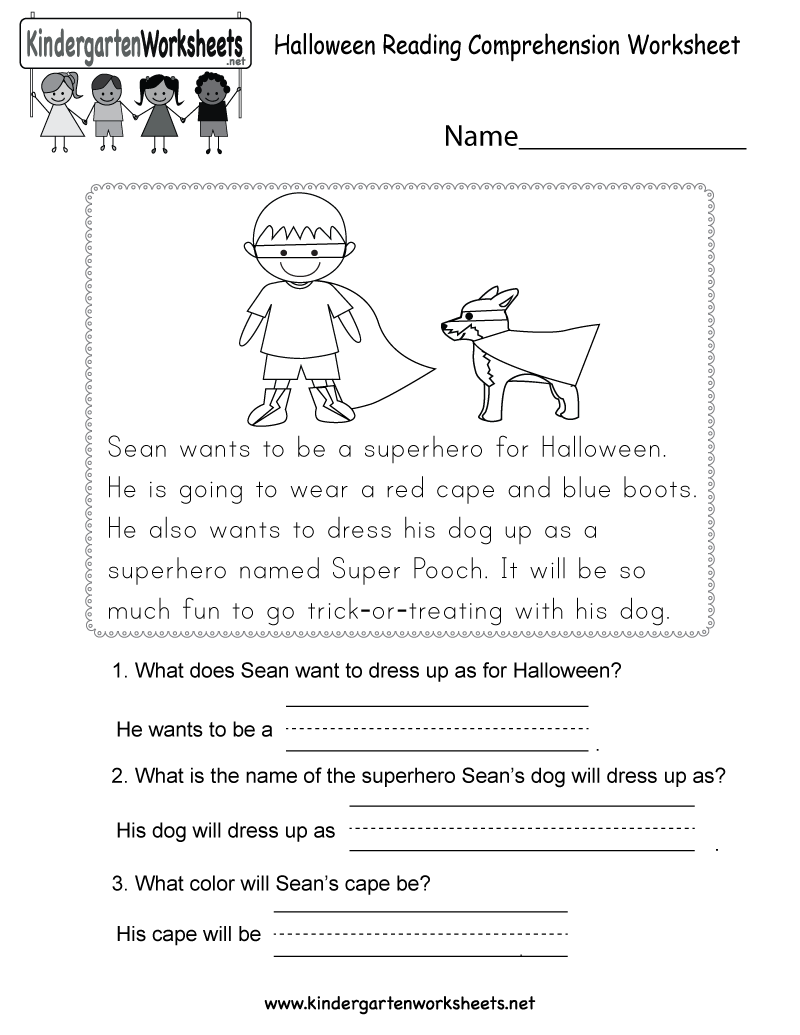 Reading Worksheets For Kindergarten : Halloween reading comprehension worksheet free