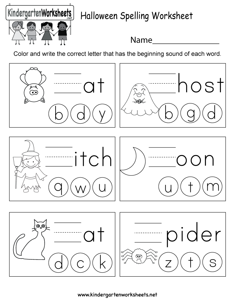 Workbooks holiday worksheets for kindergarten : Halloween Spelling Worksheet - Free Kindergarten Holiday Worksheet ...