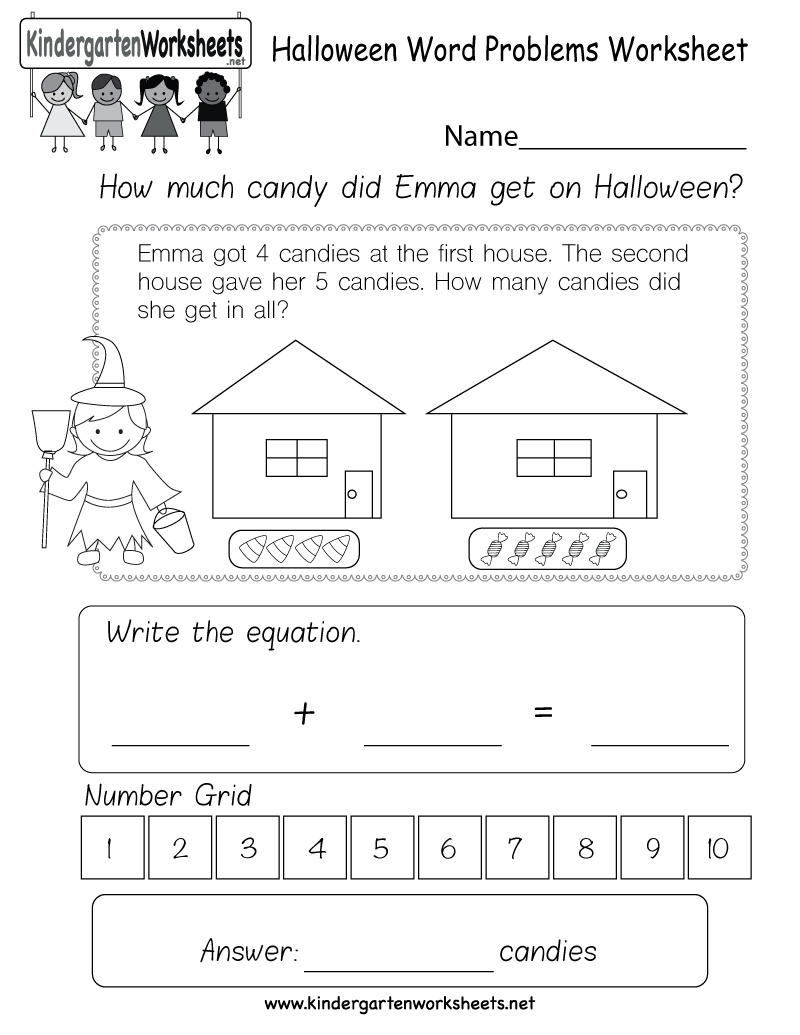 free printable halloween word problems worksheet for kindergarten