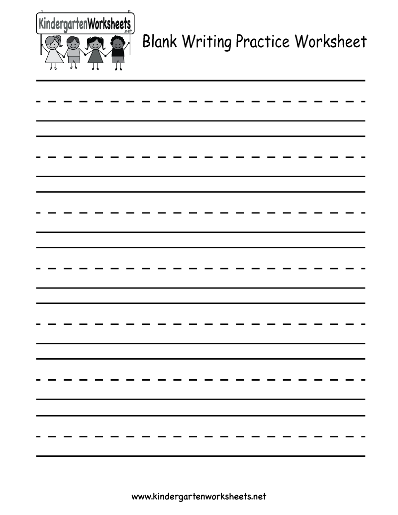 Worksheet Blank Handwriting : Blank writing practice worksheet free kindergarten